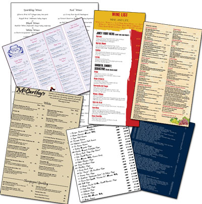 Wine lists come in a variety of styles with different colors and fonts.