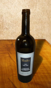 Bottle of 2002 Shafer Cabernet Sauvignon