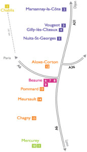Map of the Burgundy area