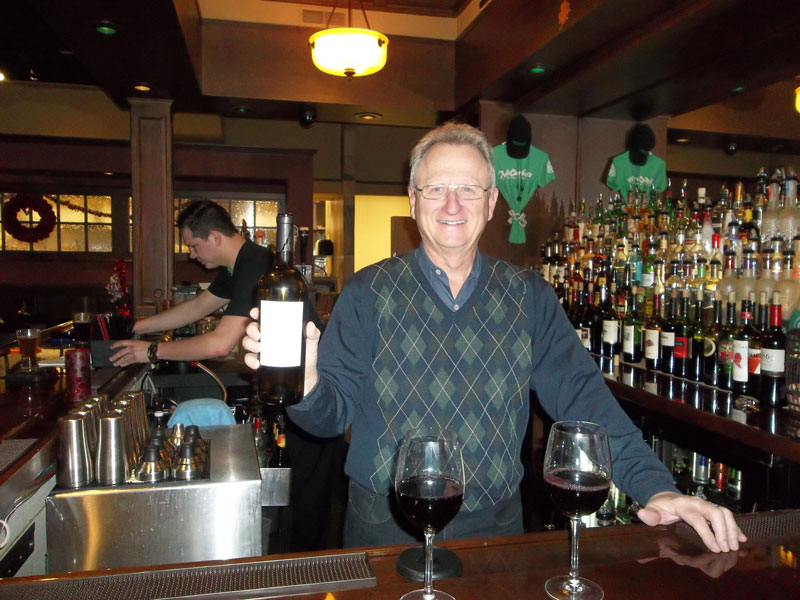 Tom Borger serves up a great Cabernet at McCarthy's on the Riverwalk in Elkhart.