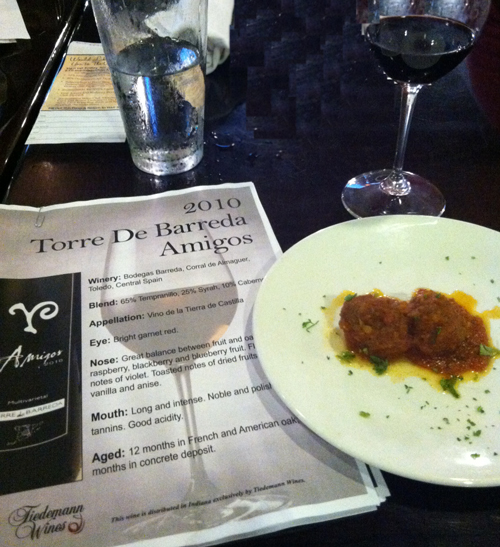 One of the pairings at the Uptown Kitchen wine tasting paired the Torre De Barreda Amigos with Spanish Meatballs in a red pepper sauce.