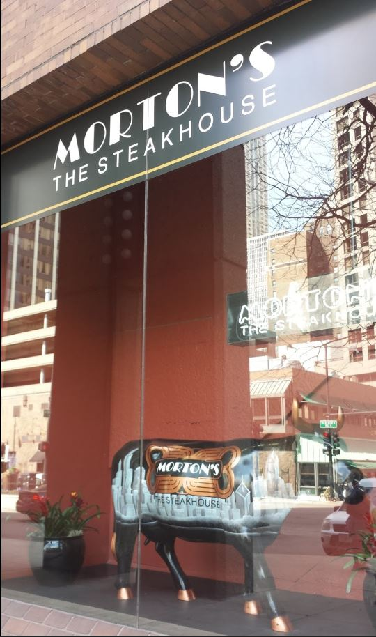 The front window at the original Morton's Steakhouse on State Street in Chicago.