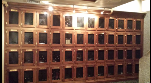 The wine lockers at the Morton's Steakhouse on State Street in Chicago.
