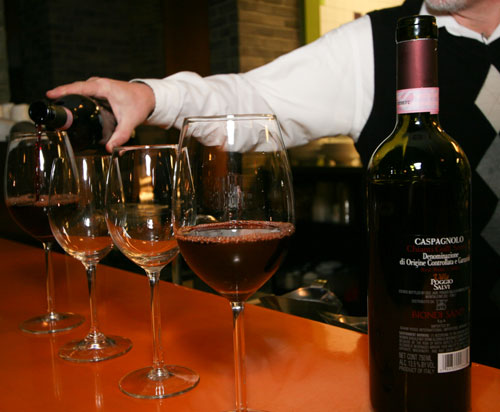 Italian wines being poured at Uptown Kitchen