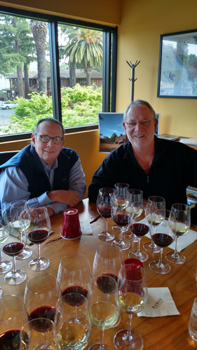 Carl with David Ramey in the Healdsburg, CA, tasting room at Ramey Wines.