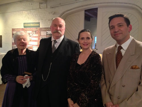 Pictured, from left: Jean Plumhoff as Susan Catherine Oliver, Patrick Albert as J.D. (Joseph Doty) Oliver, Pam Gunterman as Anna Oliver, and Jim Emmons as Joseph Oliver, Jr.