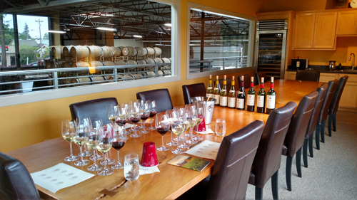 The second floor tasting room at Ramey Wines. These are the eight Ramey wines Carl sampled.