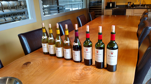 The eight wines Carl and David Ramey sampled at Ramey Wines.
