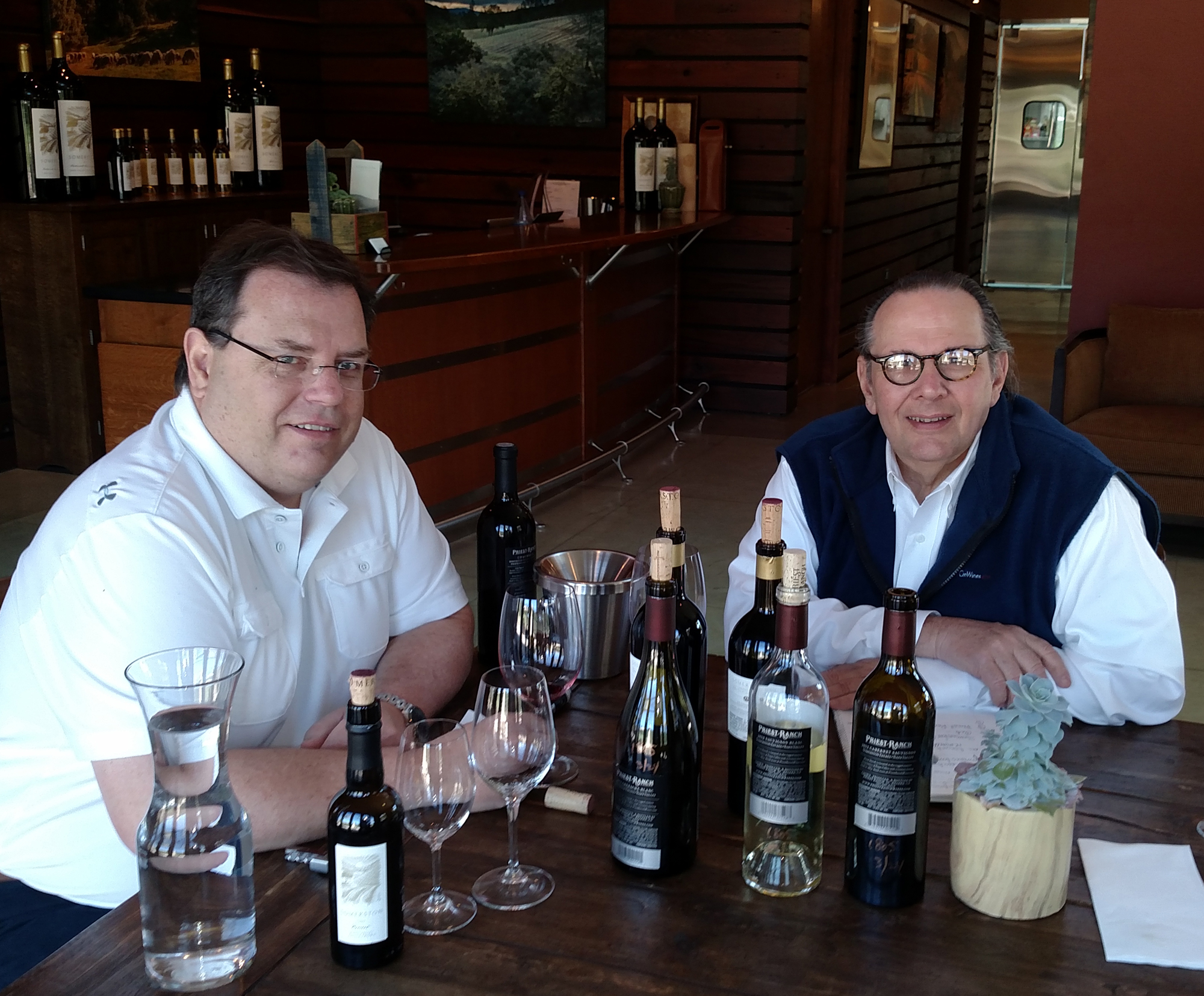Jack Edwards, Vice President of Sales at Somerston Wines, and Carl tasting Somerston Estate wines.