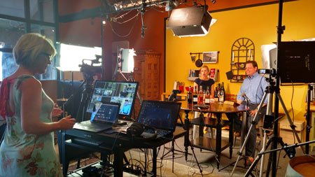 Courtney Humiston and Scott Barber record the Somm2Somm program at ToutSuite's studios in Napa.