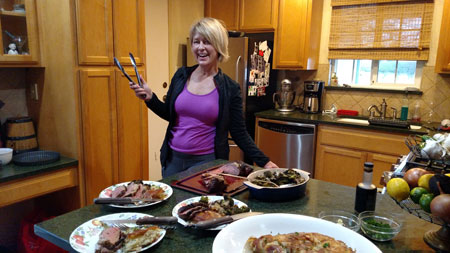 Susan Quinn in the kitchen with Sunday's dinner