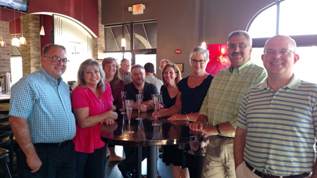 Pictured at the Uptown Kitchen Eric Kent wine dinner, from left to right, Danny Cocanower, Leslie Smith, Rose Martin, Brad Martin, Tish Wilsey, Sue Lux, Jim Smith, Jeff Wilsey.