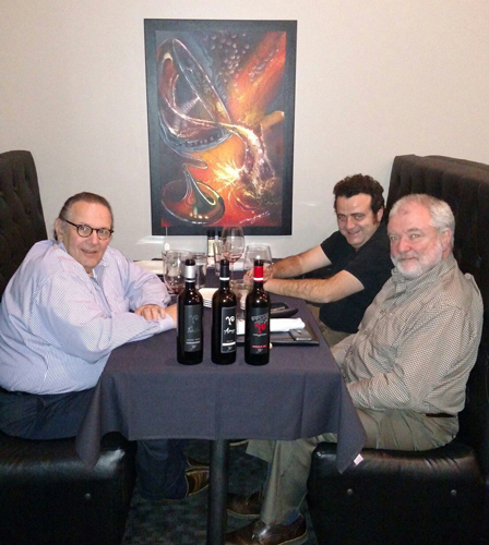 Carl, Juan de la Barreda and Tom Welsh enjoy some of Juan's wines with tapas at Temper Grille in Granger.