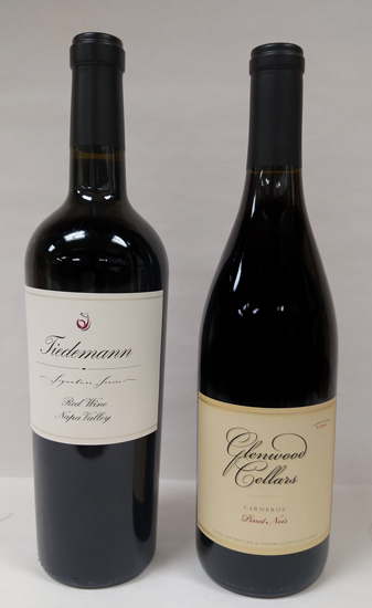 The Tiedemann bottle is a Bordeaux style bottle while the Glenwood Cellars Pinot Noir is a Burgandy style bottle.