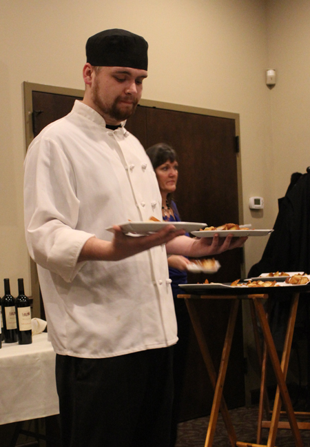 Chef Matt Hiland at McCarthy's helps serve at the White Oak dinner.