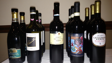 The Italian wines served at the January 28th dinner.