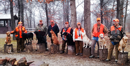 These hard-working dogs and their handlers were invited for the hunt.