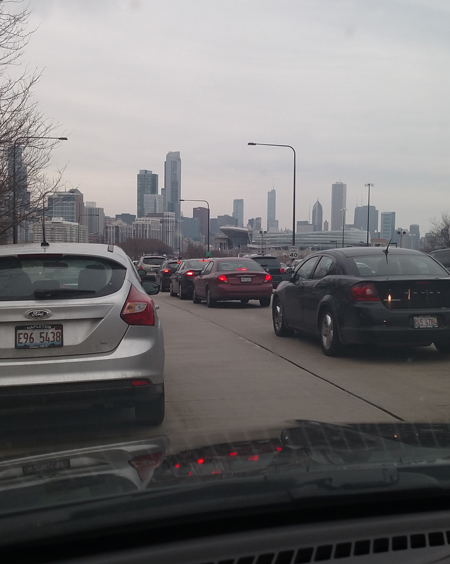 Traffic jam in Chicago on the way to the airport.