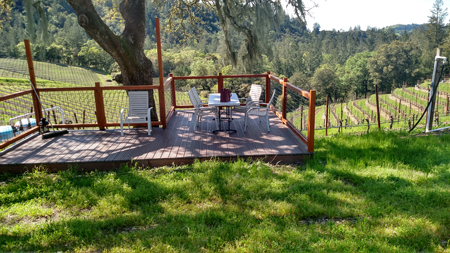 The deck overlooking the valley at Speedy Creek Winery