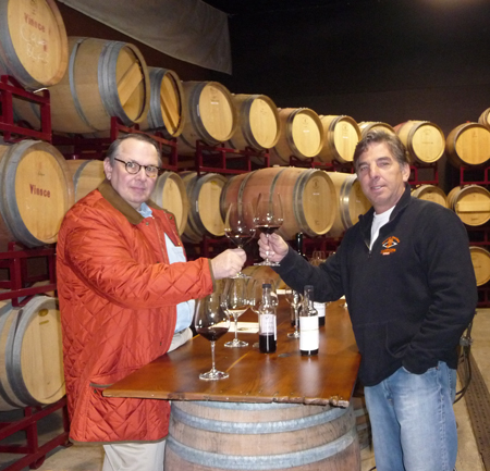 Carl and Brian Nuss blending wine in 2010.