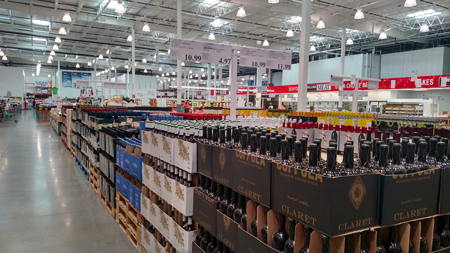 At Costco the lesser-priced wines are displayed by the case.