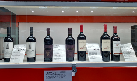 The really high-end wines are under lock and key at Costco